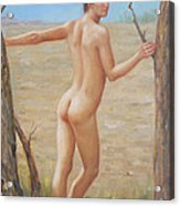 original Oil painting boy art male nude on canvas#16-2-5-07 Acrylic Print