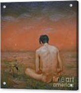 Original Oil Painting Gay Man Art-male Nude#16-2-5-43 Acrylic Print