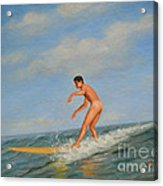 original Oil painting  male nude  man art  in the sea on canvas#16-2-5-01 Acrylic Print