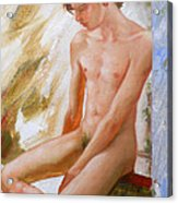 Original Boy Man Body Oil Painting Male Nude Sitting On The Window#16-2-5-28 Acrylic Print