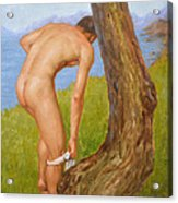 Original Oil Painting Man Body Art Male Nude-029 Acrylic Print
