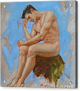 Original Oil Painting Man Body Art - Male Nude -037 Acrylic Print