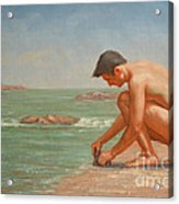 Original Oil Painting Man Body Art Male Nude By The Sea#16-2-5-42 Acrylic Print
