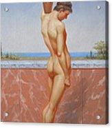 Original Oil Painting Man Body Art Male Nude On Canvas#16-2-5-13 Acrylic Print