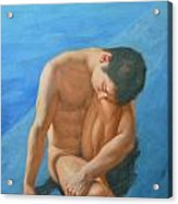 Original Oil Painting Man Body Art Male Nudeby The Pool -028 Acrylic Print
