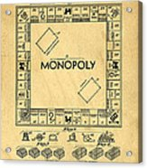 Original Patent For Monopoly Board Game Acrylic Print