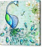Original Peacock Painting Bird Art By Megan Duncanson Acrylic Print
