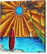 Original Tropical Surfing Whimsical Fun Painting Waiting For The Surf By Madart Acrylic Print