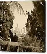 Original Vintage Urban Landscape Deco Reproduction Downtown Los Angeles Trees Retro Unique Fine Art Acrylic Print