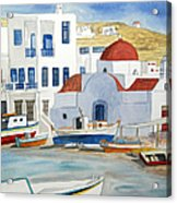 Watercolor - Mykonos Greece Detail Acrylic Print