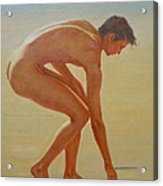 Original  Young Man Body Oil Painting  Gay Art - Male Nude By The Sea-055 Acrylic Print