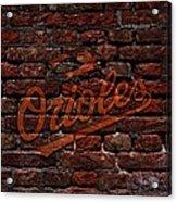 Orioles Baseball Graffiti On Brick  Acrylic Print