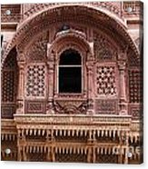 Ornate Balcony At Meherangarh Fort At Jodhpur In India Acrylic Print