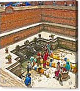 Ornate Fountains With Holy Water From The Bagmati River In Patan Durbar Square In Lalitpur-nepal   Acrylic Print