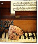 Ornate Mask On Piano Keys Acrylic Print
