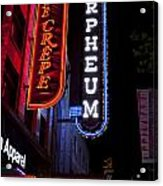 Orpheum And Cafe Crepe Acrylic Print
