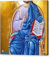 Orthodox Icon Of Jesus In Blue Acrylic Print