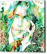 Oscar Wilde Watercolor Portrait.2 Acrylic Print by Fabrizio Cassetta
