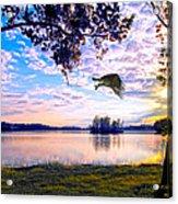 Osprey Leaving Perch Sundown Lake Acrylic Print