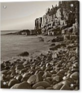 Otter Cliffs Black And White Acrylic Print