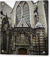 Oude Kerk Door With Bikes Amsterdam Acrylic Print