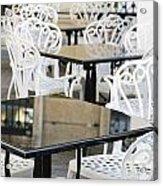 Outdoor Cafe Tables Acrylic Print by Oscar Gutierrez