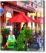 Outdoor Cafe With Red Umbrellas Acrylic Print