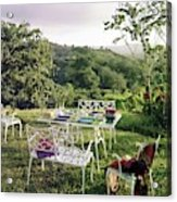 Outdoor Furniture By Lloyd On Grassy Hillside Acrylic Print