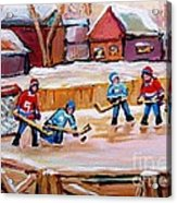 Outdoor Rink Hockey Game In The Village Hockey Art Canadian Landscape Scenes Carole Spandau Acrylic Print