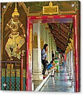Outer Hall In Thai-khmer Pagoda At Grand Palace Of Thailand Acrylic Print