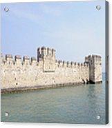 Outer Wall Scaligero Castle And Lake Garda Acrylic Print