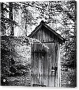 Outhouse In The Forest Black And White Acrylic Print