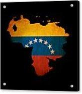 Outline Map Of Venezuela With Grunge Flag Insert Isolated On Bla Acrylic Print