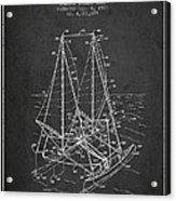 Outrigger Sailboat Patent From 1977 - Dark Acrylic Print
