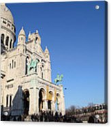 Outside The Basilica Of The Sacred Heart Of Paris - Sacre Coeur - Paris France - 01136 Acrylic Print by DC Photographer
