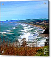 Overlooking Proposal Rock Cape Lookout Haystack Rock And Cape Kiwanda Acrylic Print by Margaret Hood