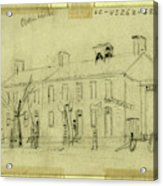 Owen House, 1860-1865, Drawing On Cream Paper Pencil Acrylic Print