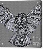 Owl In Flight Grey Acrylic Print
