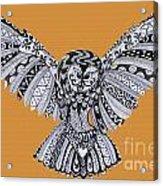 Owl In Flight Orange Acrylic Print