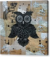Owl On Burlap2 Acrylic Print