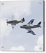 P51 And F86 Heritage Flight Acrylic Print