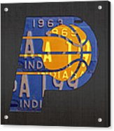 Pacers Basketball Team Logo Vintage Recycled Indiana License Plate Art Acrylic Print