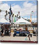 Pacific Coast Kites And Paradise Dogs On The Municipal Wharf At The Santa Cruz Beach Boardwalk Calif Acrylic Print