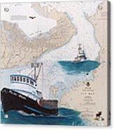Pacific Dream Crab Fishing Boat Nautical Chart Art Acrylic Print