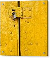 Padlock On An Old Yellow Door Acrylic Print