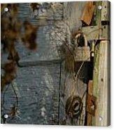 padlocked old wood door abandoned Streetman Texas Acrylic Print