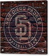 Padres Baseball Graffiti On Brick  Acrylic Print by Movie Poster Prints