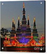 Pagoda Lantern Made With Porcelain Dinnerware At Sunset Acrylic Print