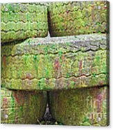 Paint Covered Barricade Made Of Tires On Paintball Field Acrylic Print