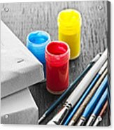 Paintbrushes With Canvas Acrylic Print